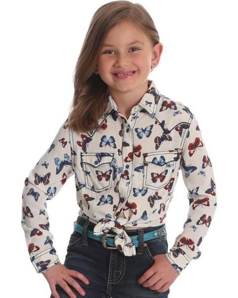 Picture of Wrangler Girls 2PKT Butterfly Print Long Sleeve Shirt