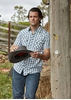 Picture of Pure Western Men Brennan Short Sleeve Shirt Navy/White