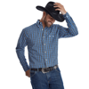 Picture of Wrangler Mens Western Classic Print Long Sleeve Royal Blue/Black